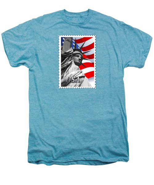 Graphic Statue Of Liberty With American Flag Text Usa Men's Premium T-Shirt by Elaine Plesser