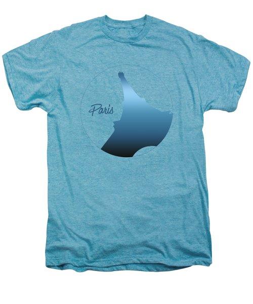 Graphic Style Paris Eiffel Tower Blue Men's Premium T-Shirt by Melanie Viola