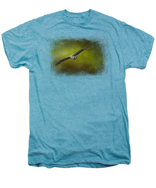 Great Blue Heron In The Grove Men's Premium T-Shirt by Jai Johnson