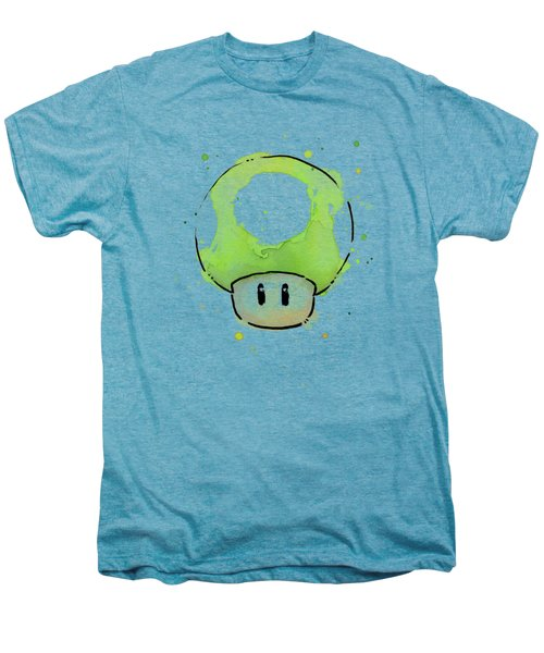 Green 1up Mushroom Men's Premium T-Shirt by Olga Shvartsur