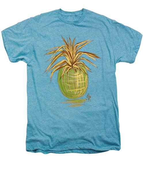 Green Gold Pineapple Painting Illustration Aroon Melane 2015 Collection By Madart Men's Premium T-Shirt by Megan Duncanson