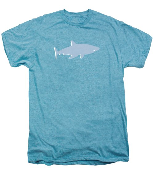 Grey And Yellow Shark Men's Premium T-Shirt by Linda Woods