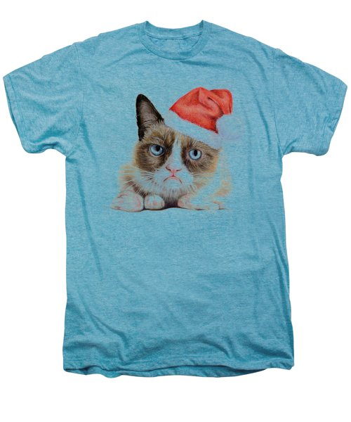 Grumpy Cat As Santa Men's Premium T-Shirt by Olga Shvartsur