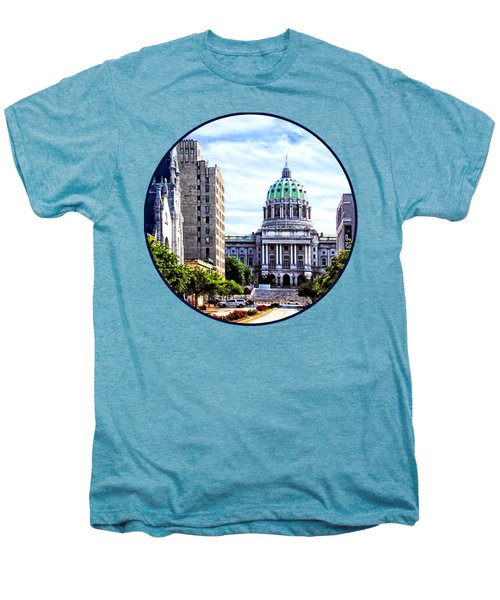 Harrisburg Pa - Capitol Building Seen From State Street Men's Premium T-Shirt by Susan Savad