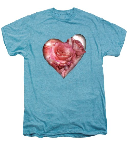 Heart Of A Rose - Melon Peach Men's Premium T-Shirt by Carol Cavalaris