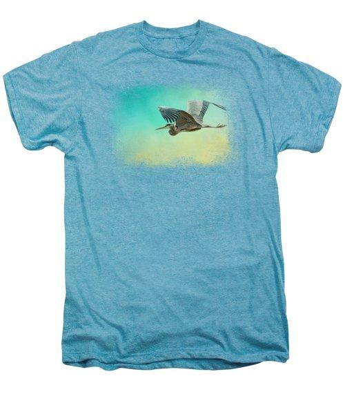 Heron At Sea Men's Premium T-Shirt by Jai Johnson
