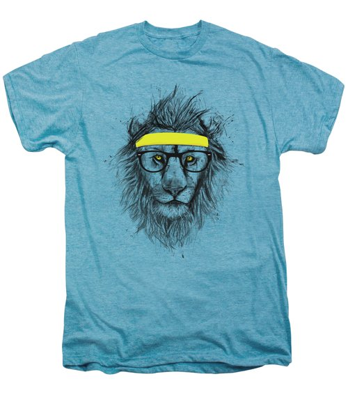 Hipster Lion Men's Premium T-Shirt by Balazs Solti