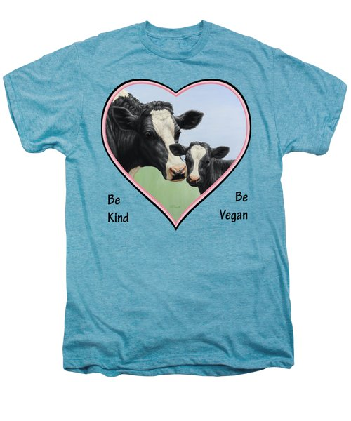 Holstein Cow And Calf Pink Heart Vegan Men's Premium T-Shirt by Crista Forest