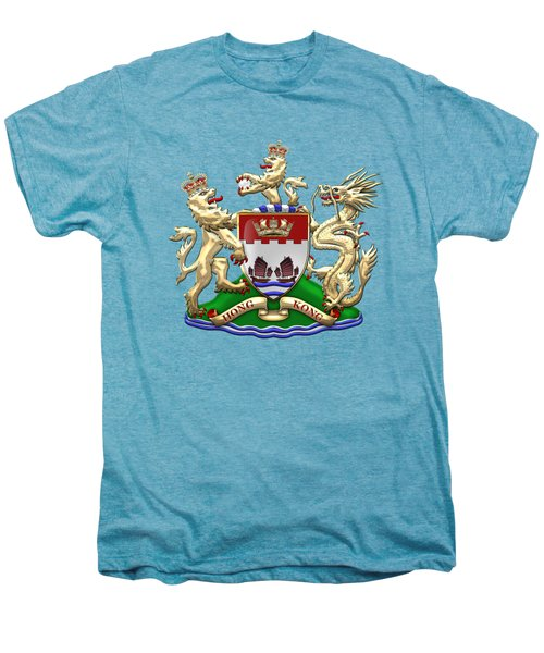 Hong Kong - 1959-1997 Coat Of Arms Over White Leather  Men's Premium T-Shirt by Serge Averbukh