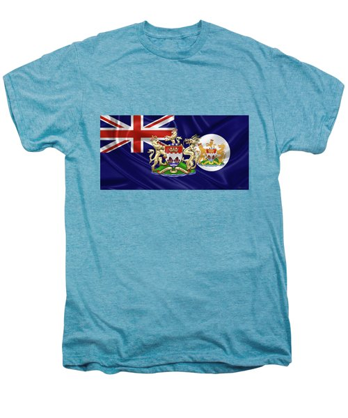 Hong Kong - 1959-1997 Historical Coat Of Arms Over British Hong Kong Flag  Men's Premium T-Shirt by Serge Averbukh