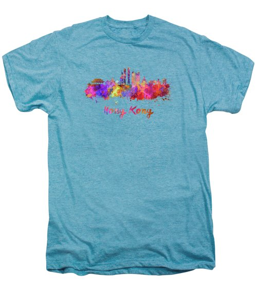 Hong Kong V2 Skyline In Watercolor Men's Premium T-Shirt by Pablo Romero