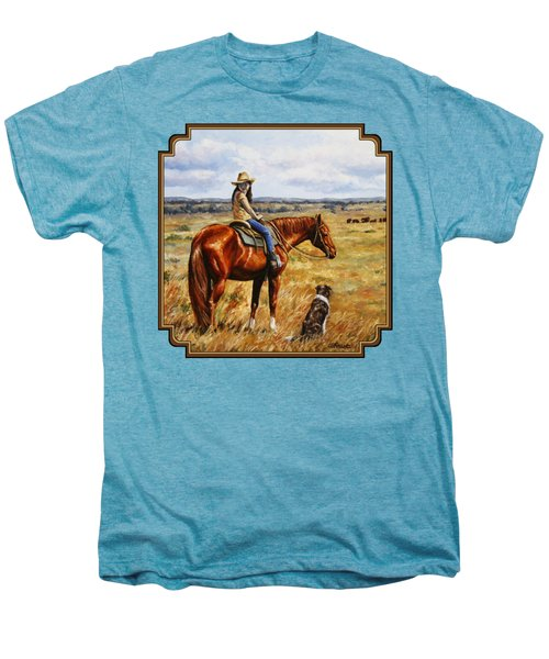 Horse Painting - Waiting For Dad Men's Premium T-Shirt by Crista Forest