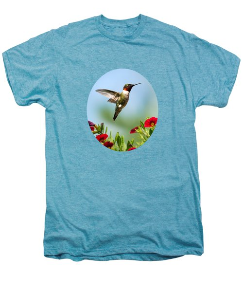 Hummingbird Frolic With Flowers Men's Premium T-Shirt by Christina Rollo