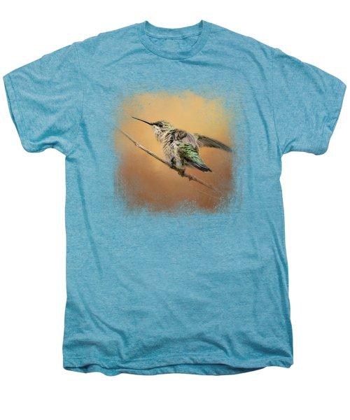 Hummingbird On Peach Men's Premium T-Shirt by Jai Johnson