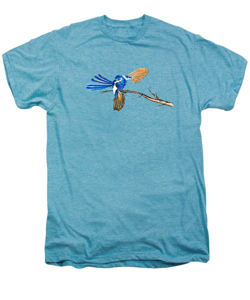 Inked Blue Fairy Wren Men's Premium T-Shirt by Lorraine Kelly