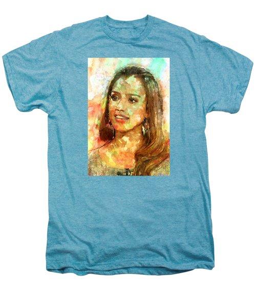 Jessica Alba Men's Premium T-Shirt by Elena Kosvincheva