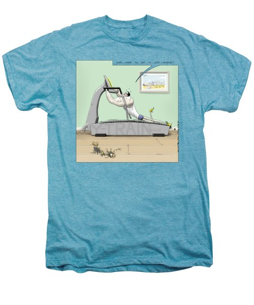Jim - Treadmill Terror Men's Premium T-Shirt by Kris Burton-Shea