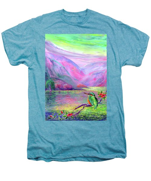 Kingfisher, Shimmering Streams Men's Premium T-Shirt by Jane Small