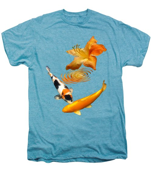 Koi With Azalea Ripples Vertical Men's Premium T-Shirt by Gill Billington