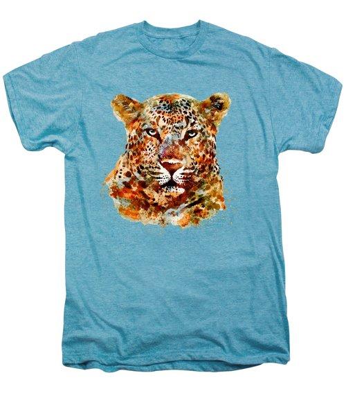 Leopard Head Watercolor Men's Premium T-Shirt by Marian Voicu