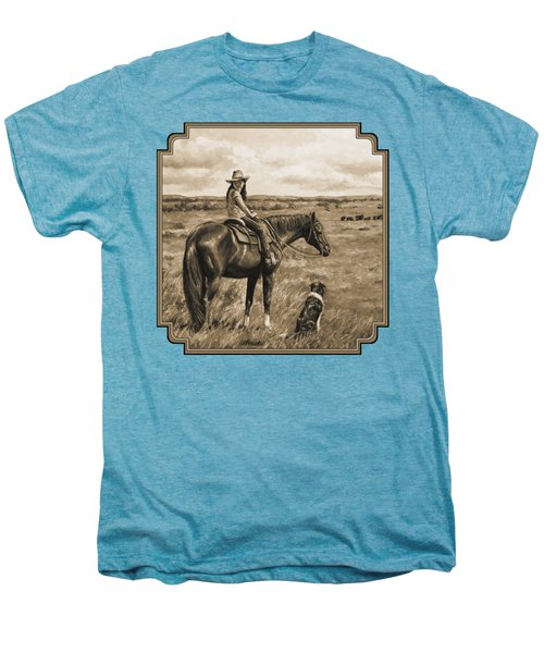 Little Cowgirl On Cattle Horse In Sepia Men's Premium T-Shirt by Crista Forest