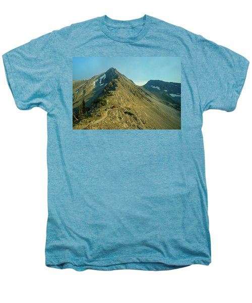 Llama Packer Hiking A Steep Rocky Mountain Peak Trail Men's Premium T-Shirt by Jerry Voss
