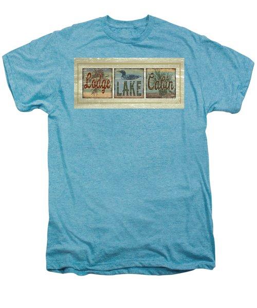 Lodge Lake Cabin Sign Men's Premium T-Shirt by Joe Low