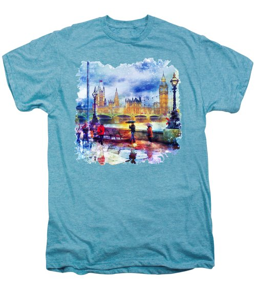 London Rain Watercolor Men's Premium T-Shirt by Marian Voicu