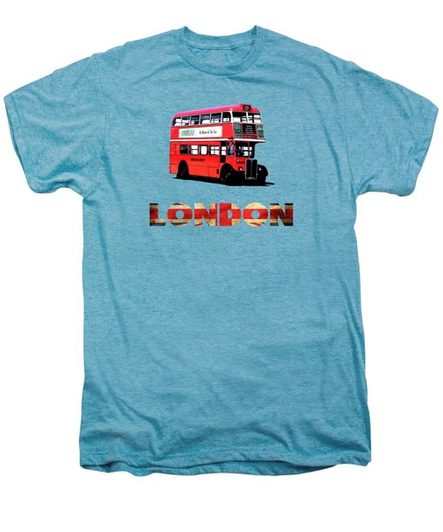 London Red Double Decker Bus Tee Men's Premium T-Shirt by Edward Fielding