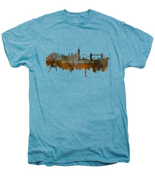 London Skyline City Brown Men's Premium T-Shirt by Justyna JBJart
