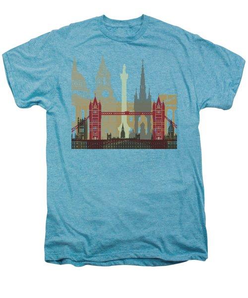 London Skyline Poster Men's Premium T-Shirt by Pablo Romero