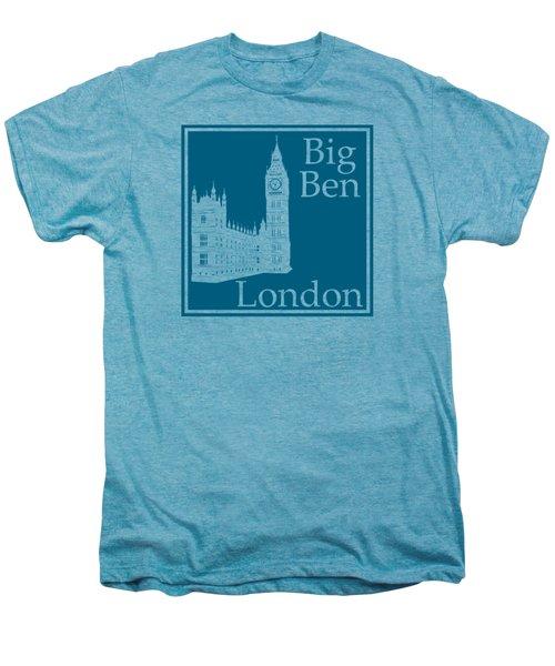 London's Big Ben In Blue Lagoon Men's Premium T-Shirt by Custom Home Fashions