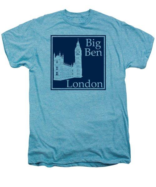 London's Big Ben In Oxford Blue Men's Premium T-Shirt by Custom Home Fashions