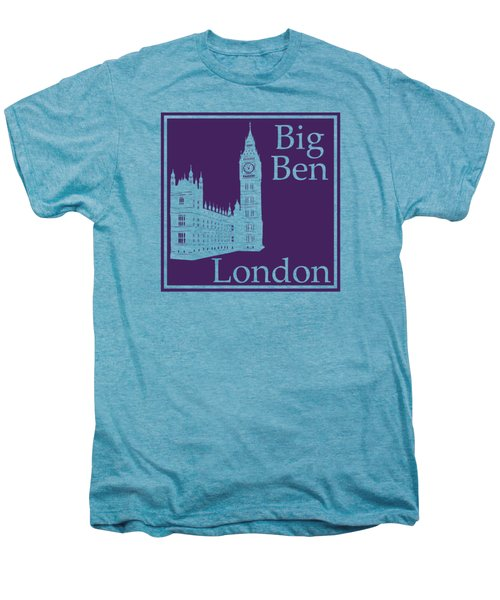 London's Big Ben In Purple Men's Premium T-Shirt by Custom Home Fashions