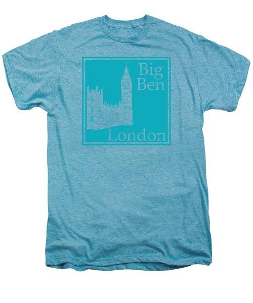 London's Big Ben In Robin's Egg Blue Men's Premium T-Shirt by Custom Home Fashions