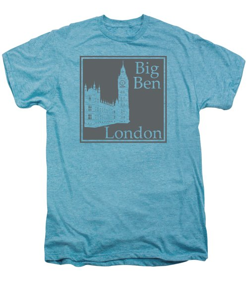 London's Big Ben In Storm Gray Men's Premium T-Shirt by Custom Home Fashions