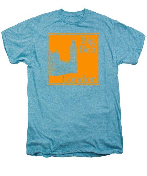 London's Big Ben In Tangerine Men's Premium T-Shirt by Custom Home Fashions