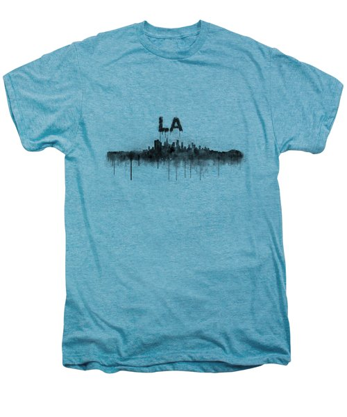 Los Angeles City Skyline Hq V5 Bw Men's Premium T-Shirt by HQ Photo