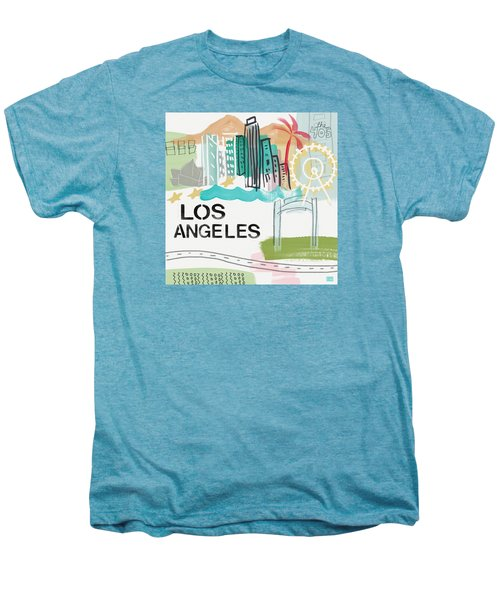 Los Angeles Cityscape- Art By Linda Woods Men's Premium T-Shirt by Linda Woods