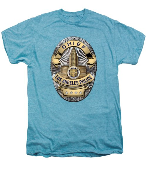 Los Angeles Police Department  -  L A P D  Chief Badge Over White Leather Men's Premium T-Shirt by Serge Averbukh