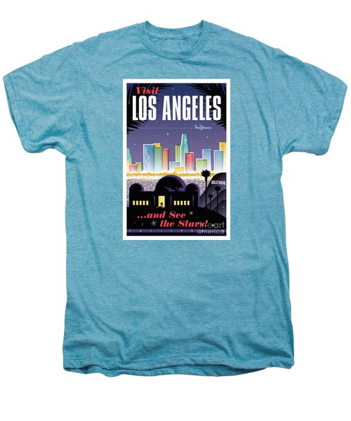 Los Angeles Retro Travel Poster Men's Premium T-Shirt by Jim Zahniser