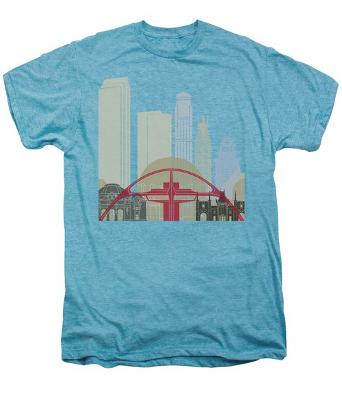 Los Angeles Skyline Poster Men's Premium T-Shirt by Pablo Romero