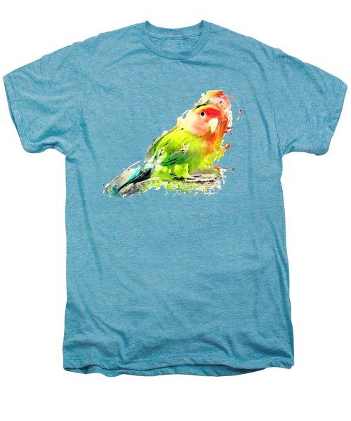Lovebird Watercolor Painting Men's Premium T-Shirt by Justyna JBJart