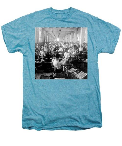 Making Money At The Bureau Of Printing And Engraving - Washington Dc - C 1916 Men's Premium T-Shirt by International  Images