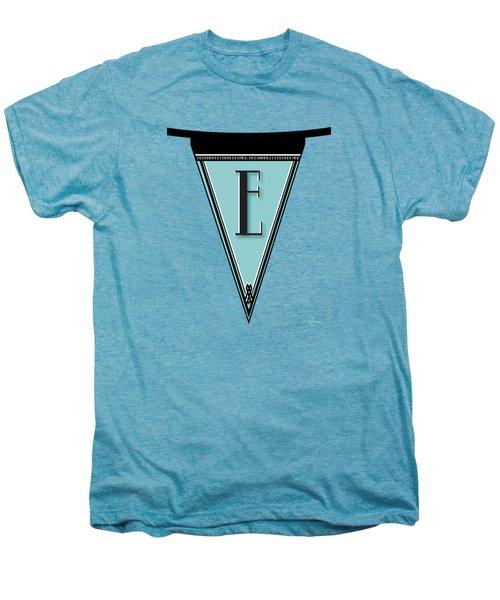 Pennant Deco Blues Banner Initial Letter E Men's Premium T-Shirt by Cecely Bloom