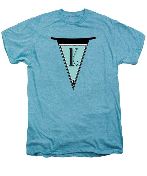Pennant Deco Blues Banner Initial Letter K Men's Premium T-Shirt by Cecely Bloom