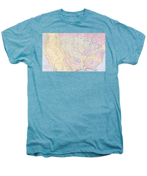 Map Showing The Localities Of The Indian Tribes Of The Us In 1833 Men's Premium T-Shirt by Thomas L McKenney and James Hall