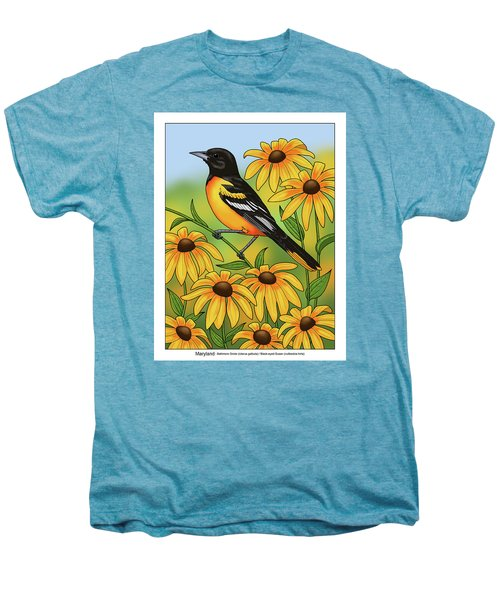 Maryland State Bird Oriole And Daisy Flower Men's Premium T-Shirt by Crista Forest