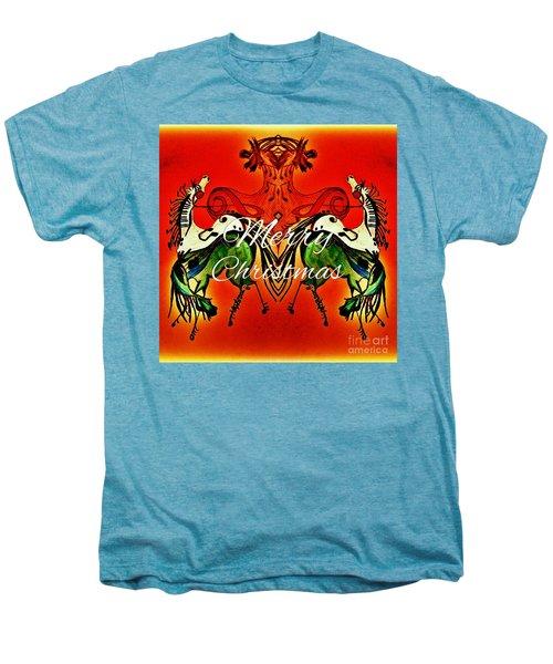 Merry Christmas Dancing Musical Horses Men's Premium T-Shirt by Scott D Van Osdol