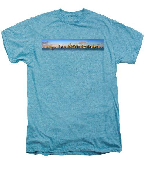 Miami Skyline In Morning Daytime Panorama Men's Premium T-Shirt by Jon Holiday